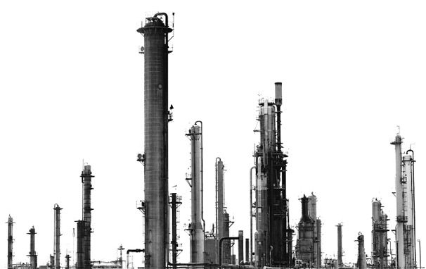gas plant black and white